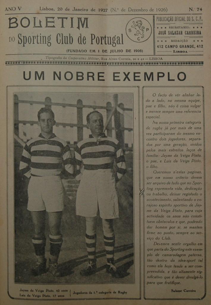 Boletim Sporting 20 Janeiro 1927 a