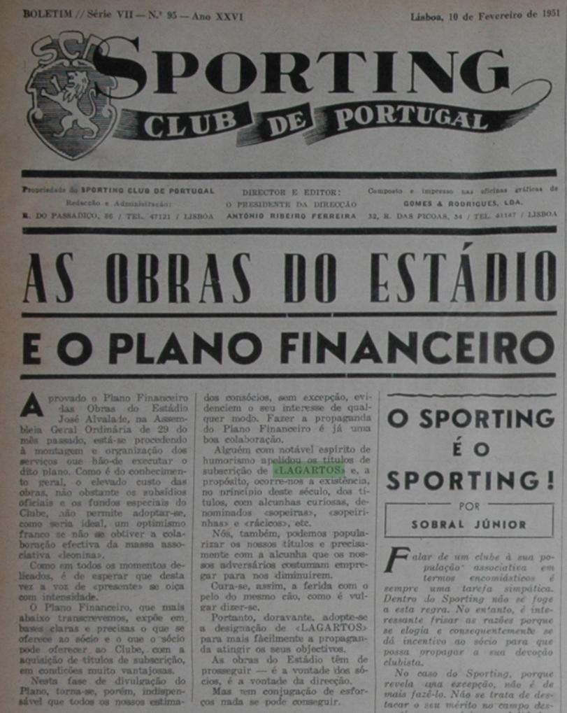 """A primeira menção a """"lagartos"""": 10 de Fevereiro de 1951, Jornal Sporting"""