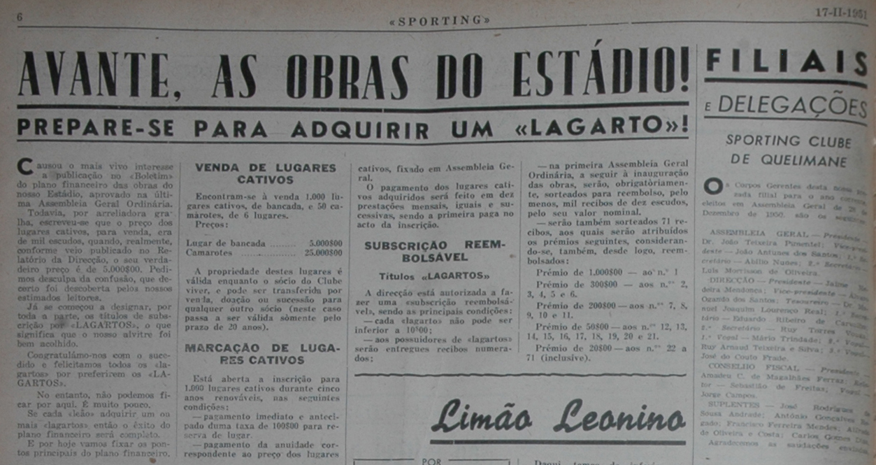"""A segunda menção a """"lagartos"""": 17 de Fevereiro de 1951, Jornal Sporting"""
