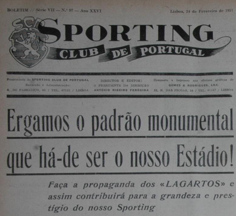 Lagartos a 24 de Fevereiro de 1951, Jornal Sporting