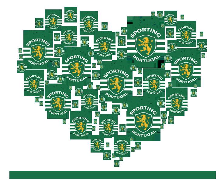 Sporting valentine - Dia dos namorados Sporting Clube de Portugal. Coração feito de emblemas do Sporting